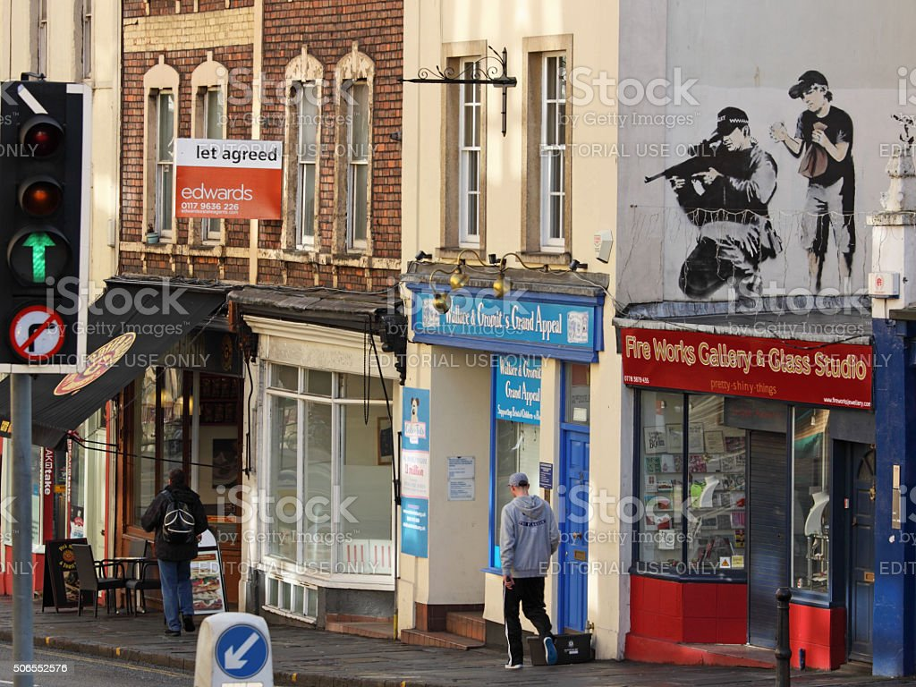 Police sniper as depicted by the street artist Banksy, Bristol stock photo