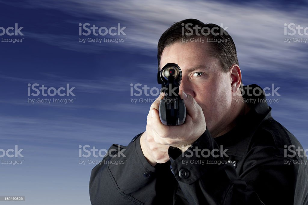 Police Snipper on a roof royalty-free stock photo