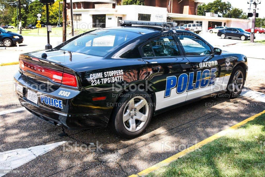 Police squad car patrolling Oxford Mississippi, USA stock photo