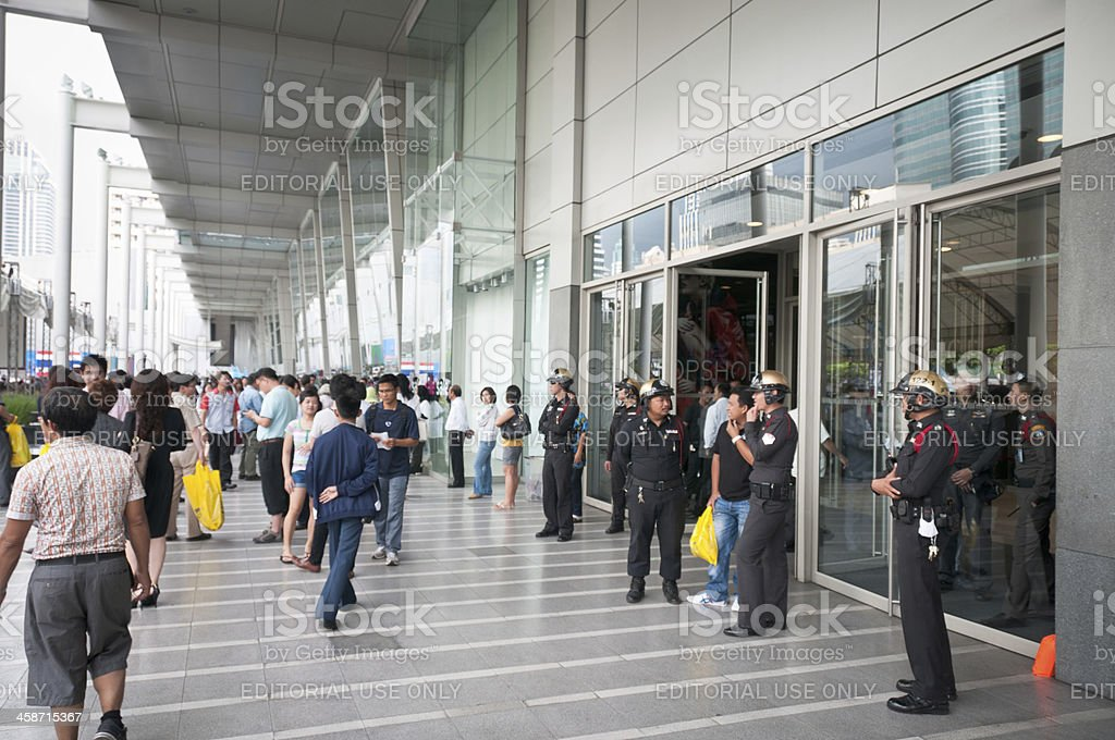 Police Stand Guard At A Democrat Party Rally In Thailand royalty-free stock photo