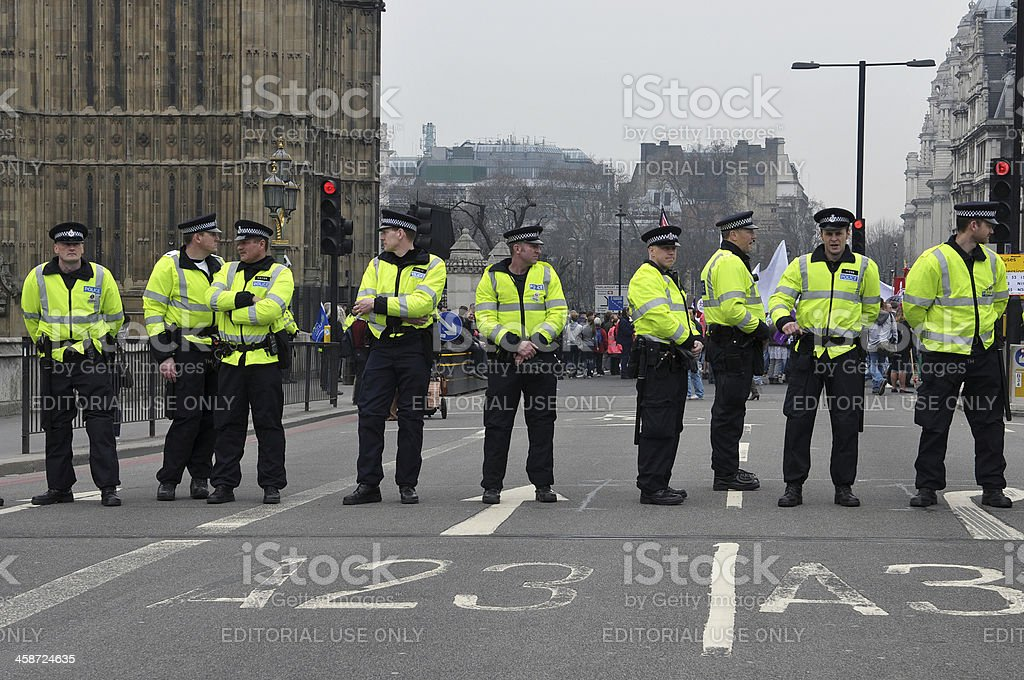 Police Stand Guard in London stock photo