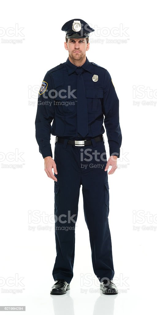 Police standing and looking at camera stock photo