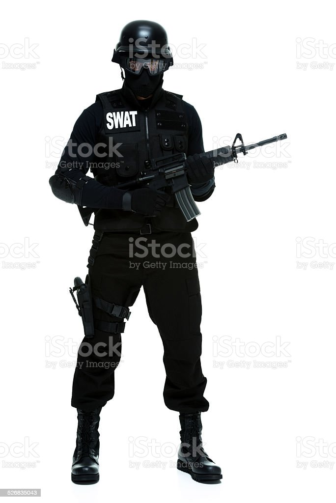 Police standing & looking at camera stock photo
