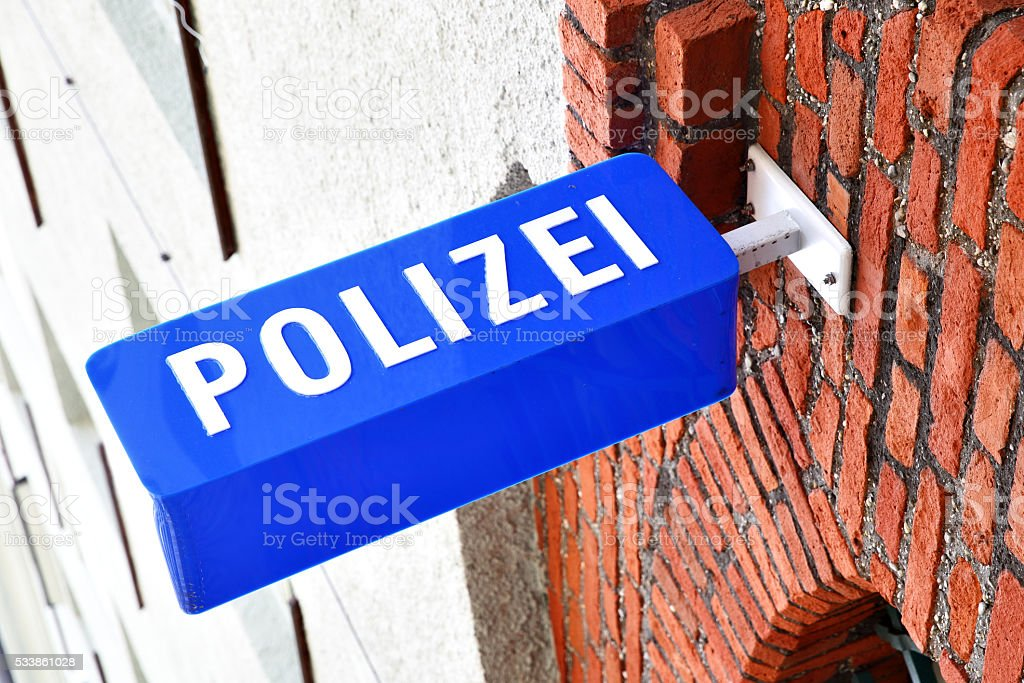 Police stantion sign stock photo