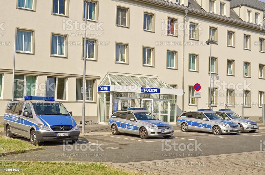 Police station and cars royalty-free stock photo