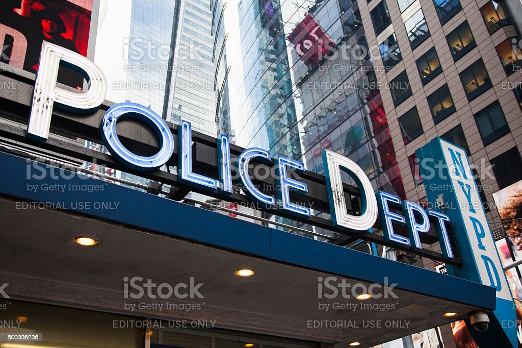 Police station at Times Square New York City stock photo