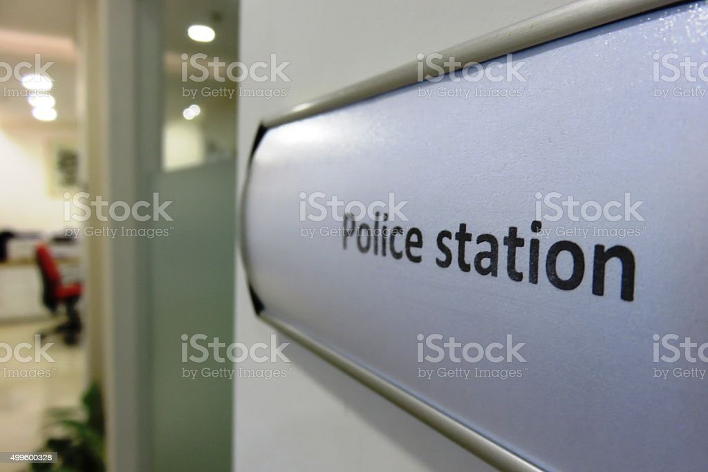 Police station Sign stock photo