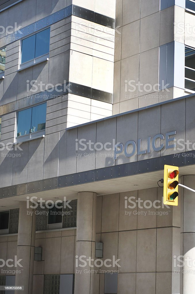 Police Station With Traffic Signal stock photo