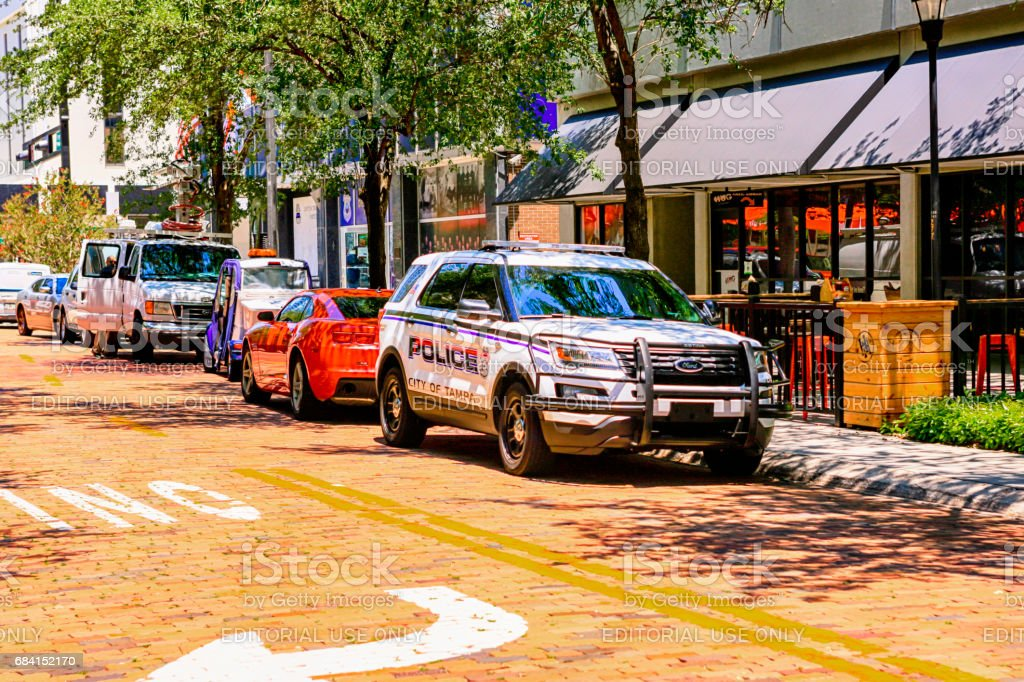 Police SUV vehicle in the city of Tampa FL stock photo