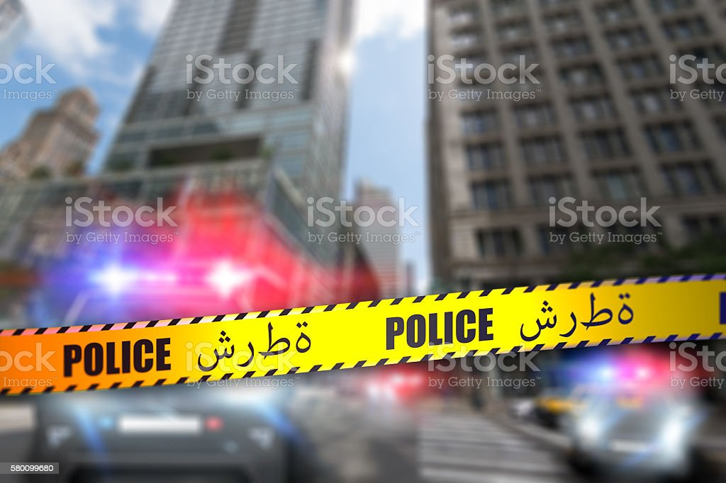 Police Tape - Arabic stock photo