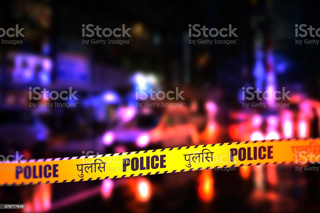 Police Tape - Hindi stock photo