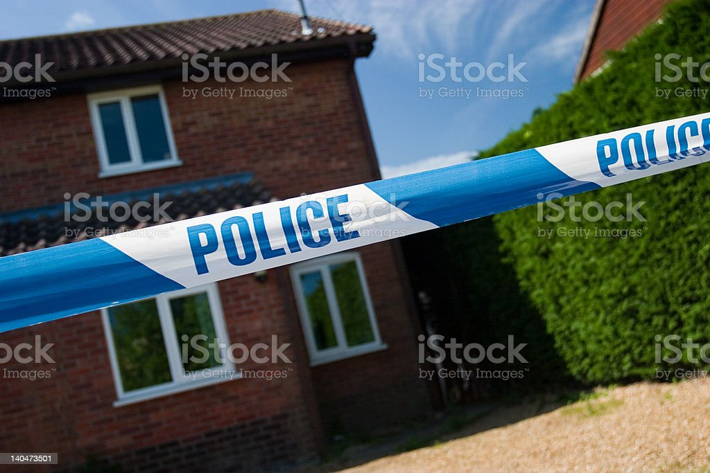 Police tape, posible crime scene?! royalty-free stock photo