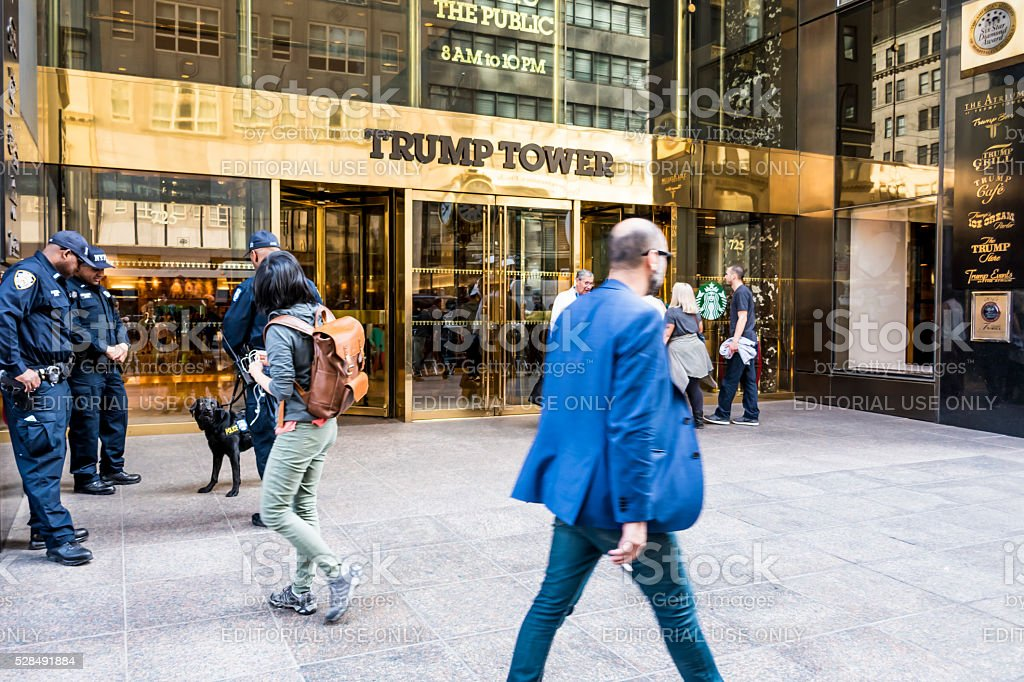 Police team are waiting Donald Trump for protection stock photo