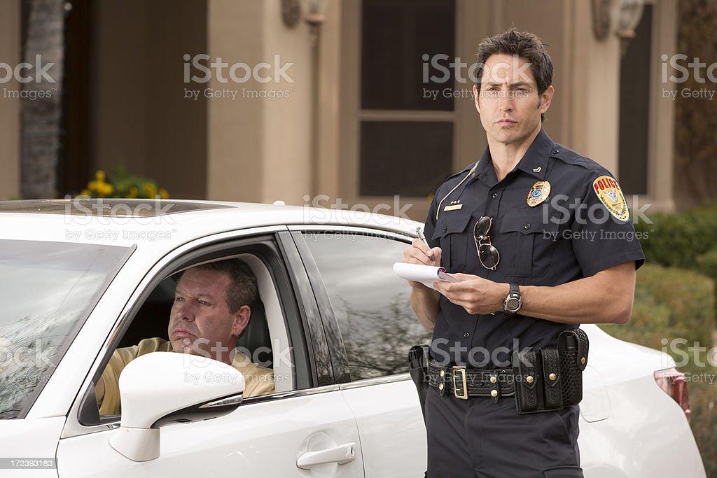 Police Traffic Stop Displeased Gentleman stock photo