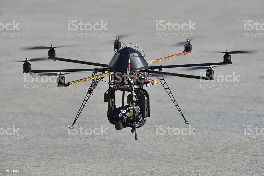 Police unmanned helicopter (UAV) with a camera for observation stock photo