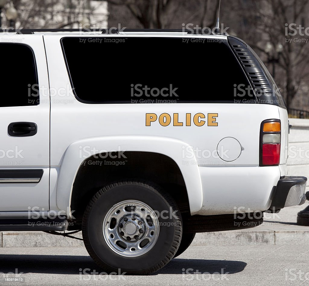 Police Van Parked in Urban Area royalty-free stock photo