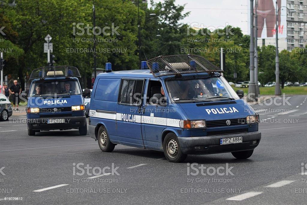 Police van vehicles on the street stock photo