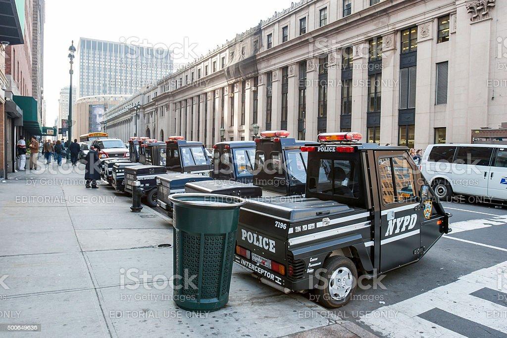 Police vehicles in Manhattan stock photo