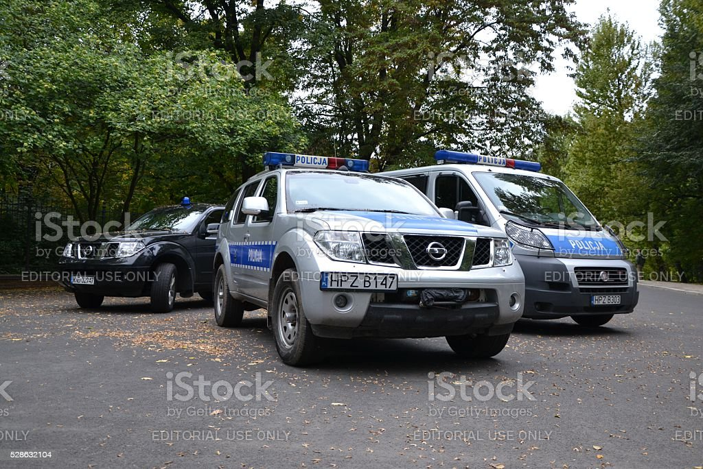 Police vehicles on the street stock photo