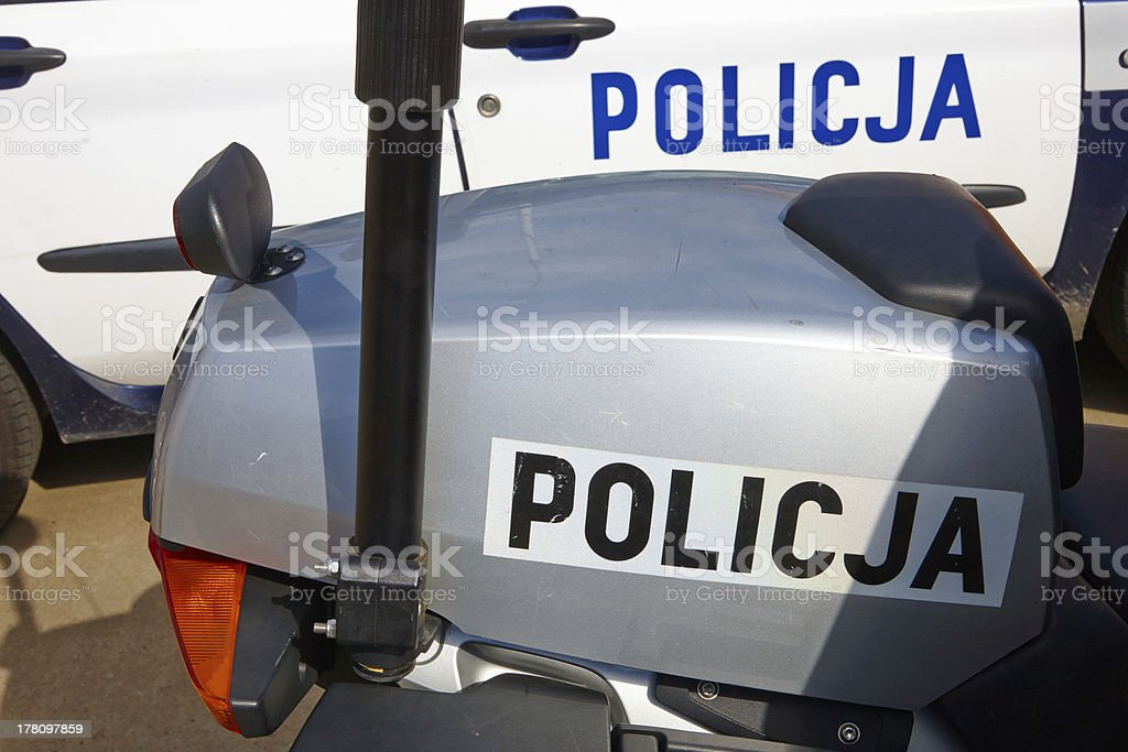 Police vehicles standing in street royalty-free stock photo