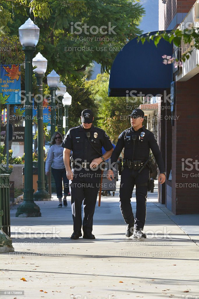 Police Walking A Beat stock photo