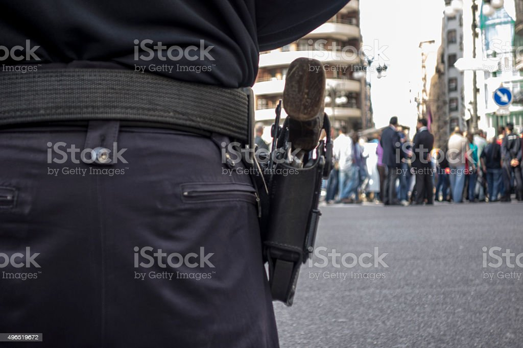 Police watching demonstration stock photo