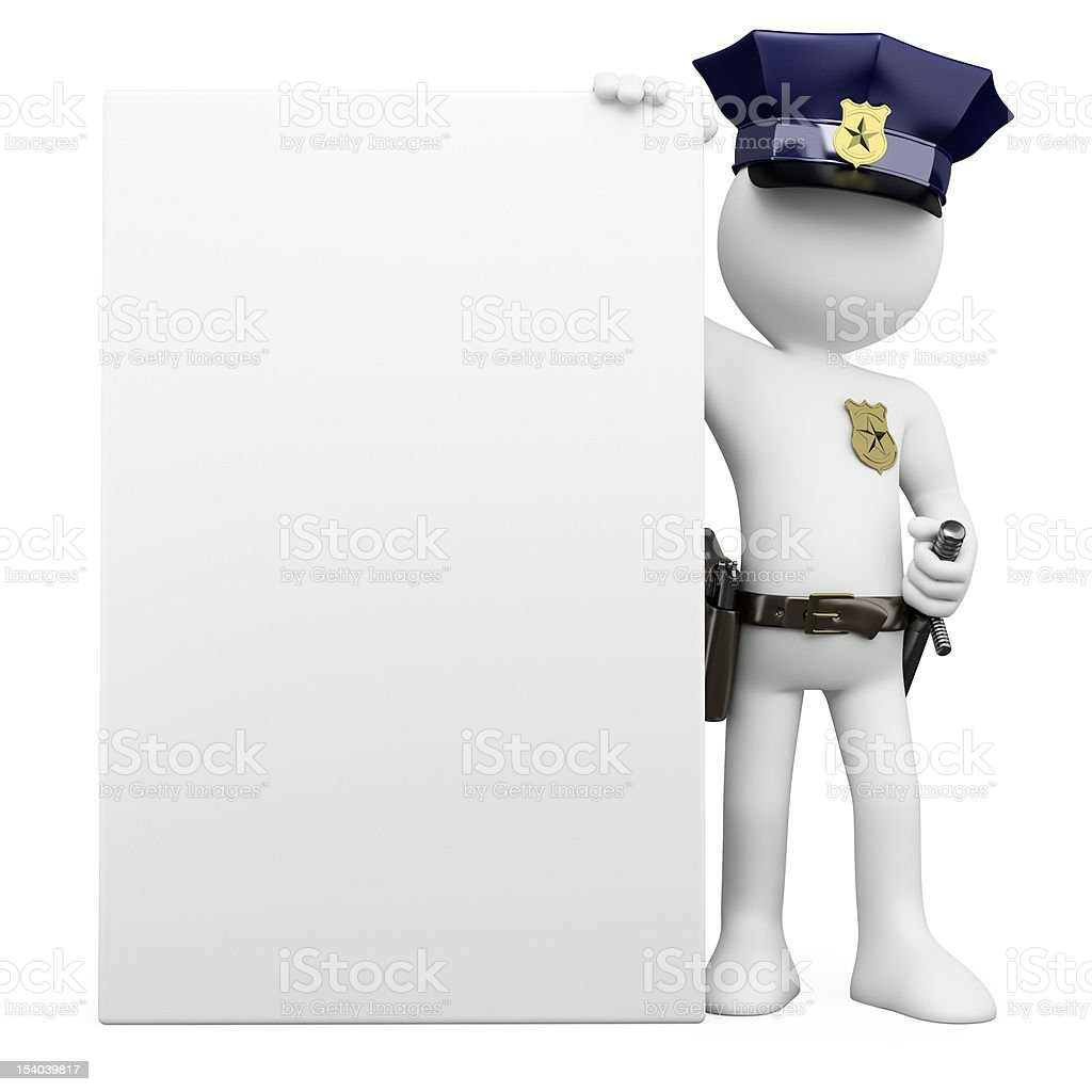 3D Police with a blank poster stock photo