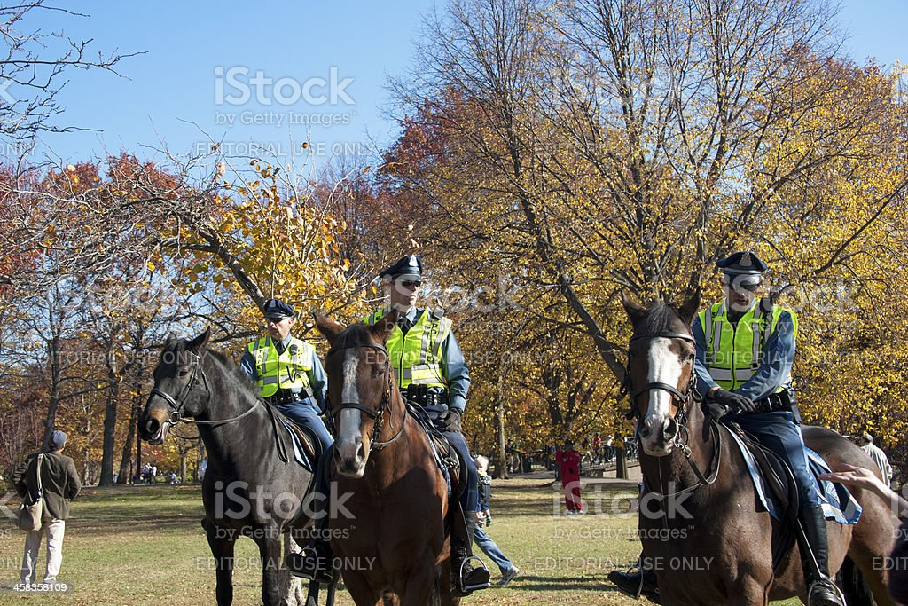 Police with rowds at parade of Red Sox championships royalty-free stock photo