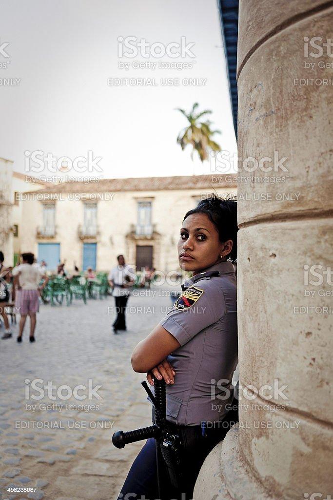 Police woman in Habana royalty-free stock photo