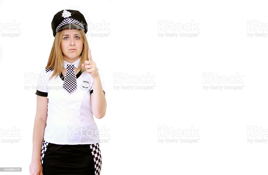 Police Woman Pointing stock photo