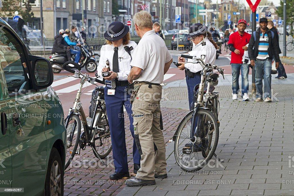 Police women writing ticket stock photo