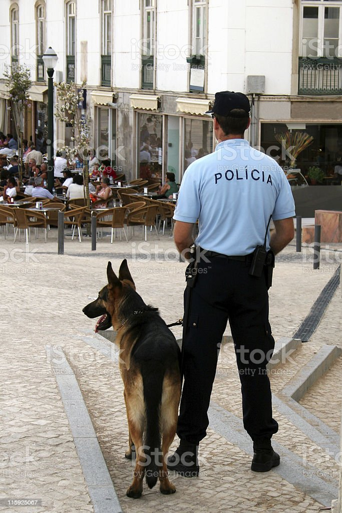 Policeman and dog stock photo