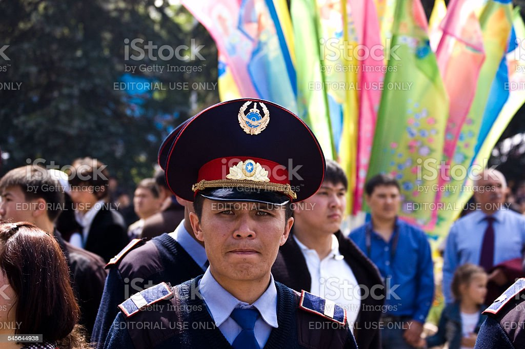 Policeman at 1th May Celebration stock photo