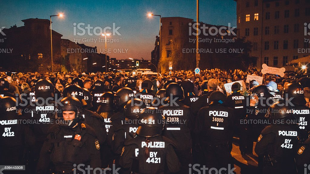 Policeman at demonstration stock photo