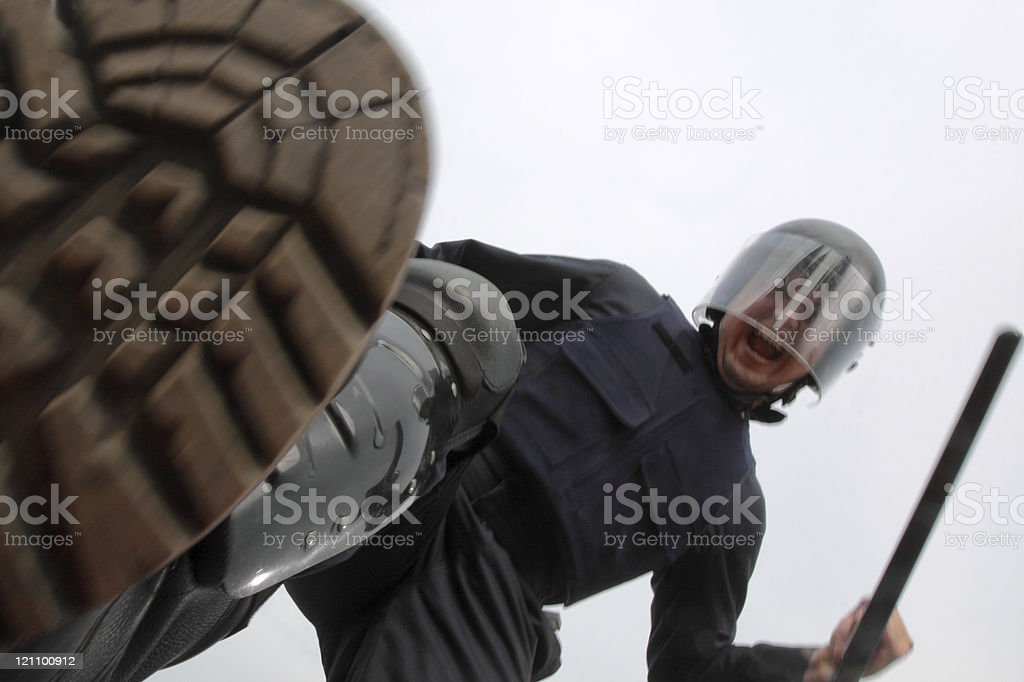 Policeman at work stock photo