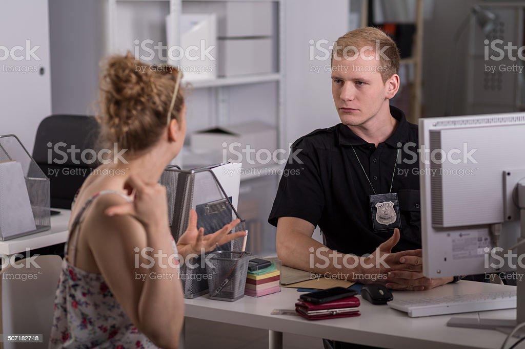 Policeman at work stock photo