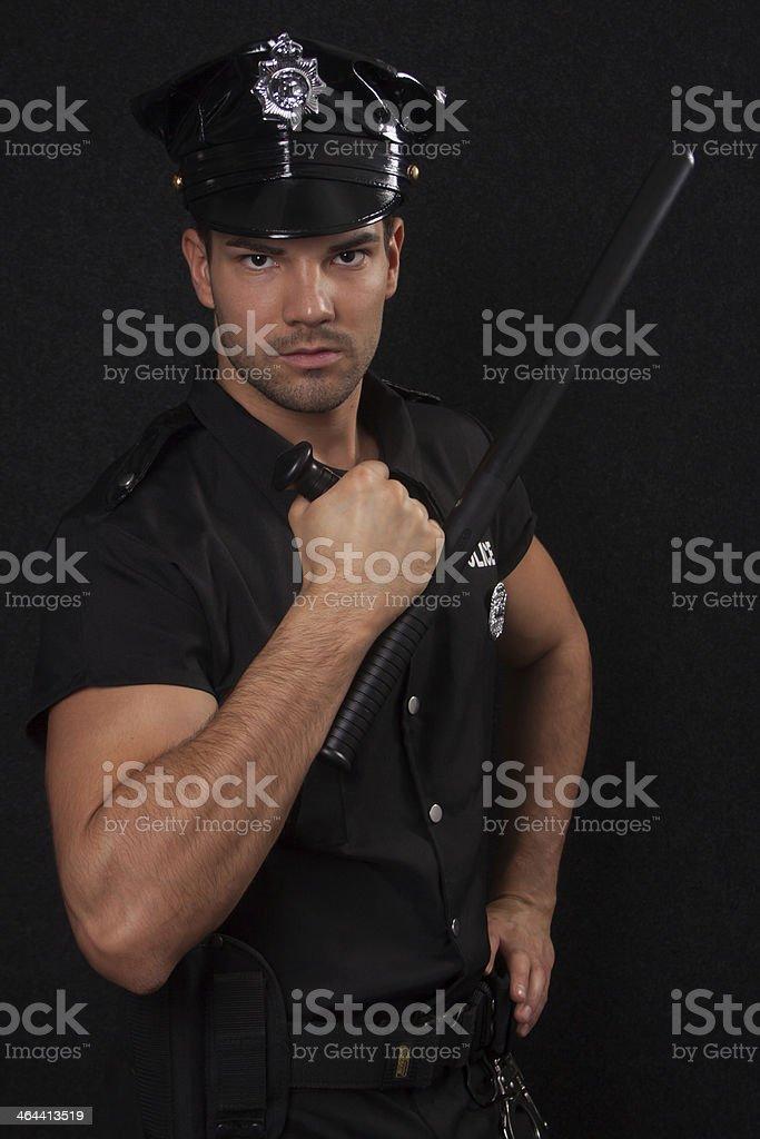Policeman facing into camera stock photo