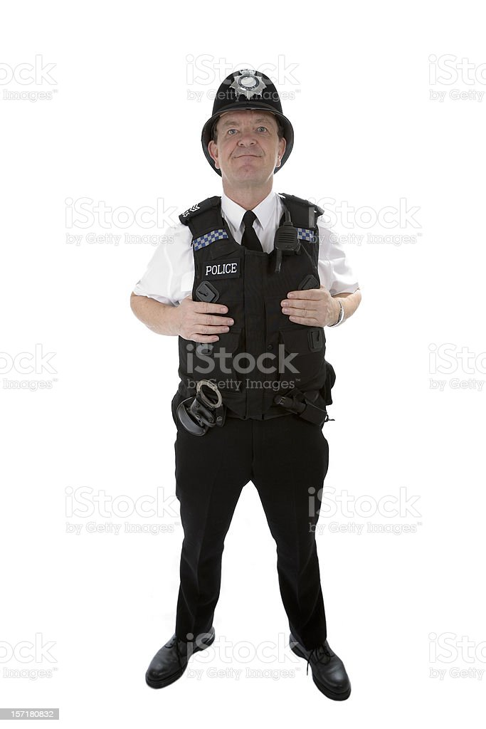 UK policeman: full length portrait of a British police officer stock photo