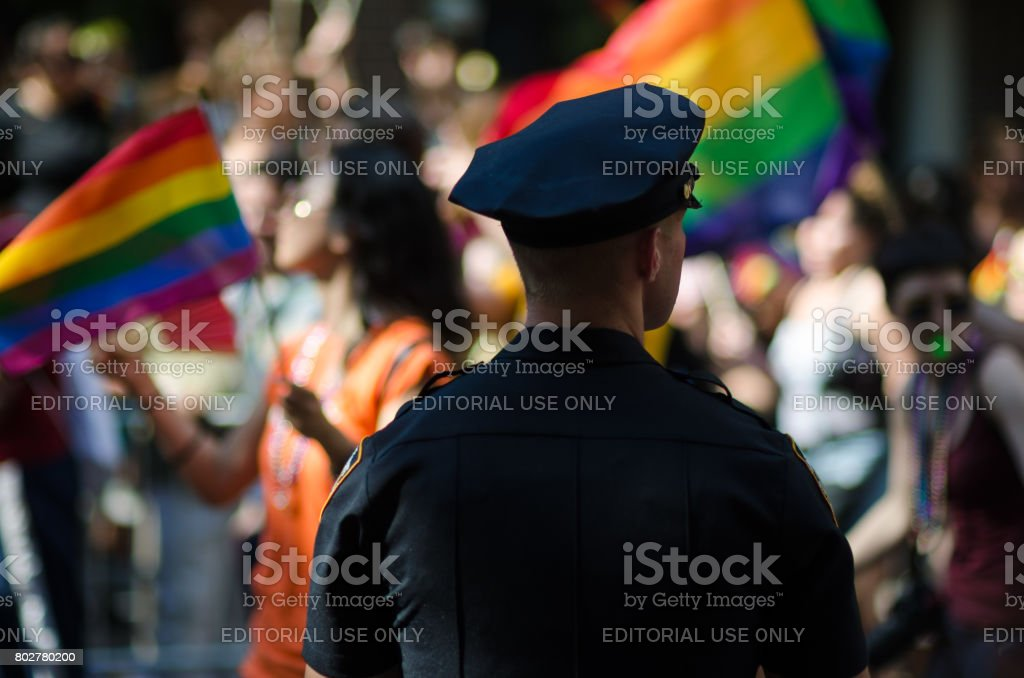 Policeman Gay Pride Parade New York City stock photo