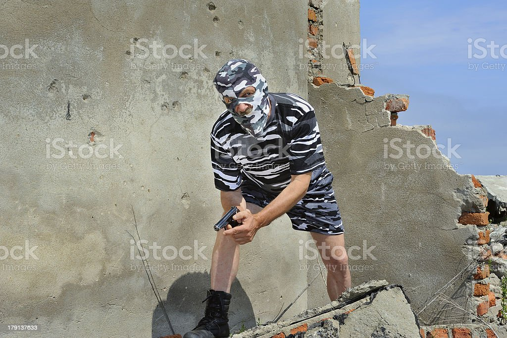 Policeman in mask stock photo