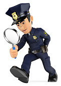 3D Policeman looking with a magnifying glass. Investigation. CSI