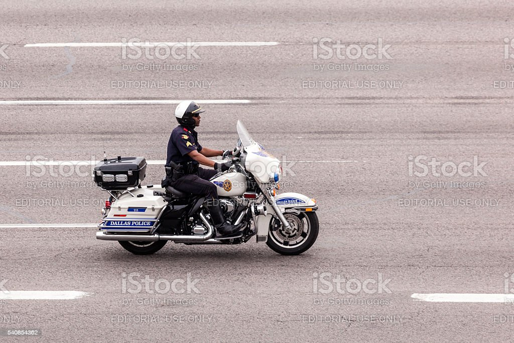 Policeman on motorcycle stock photo