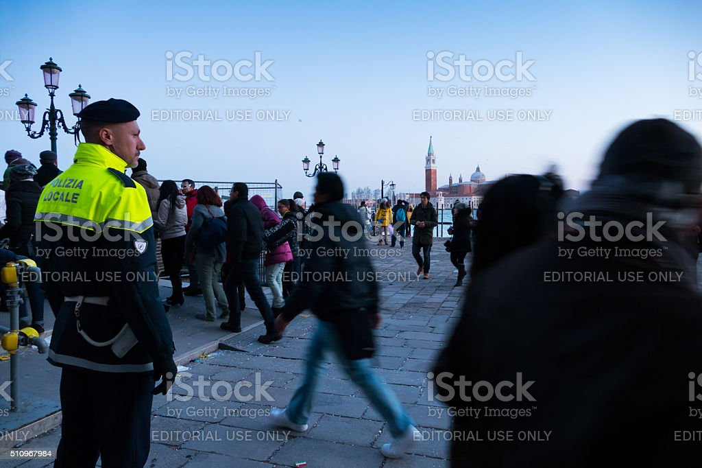 Policeman on St. Marc's sqaure, Italy stock photo