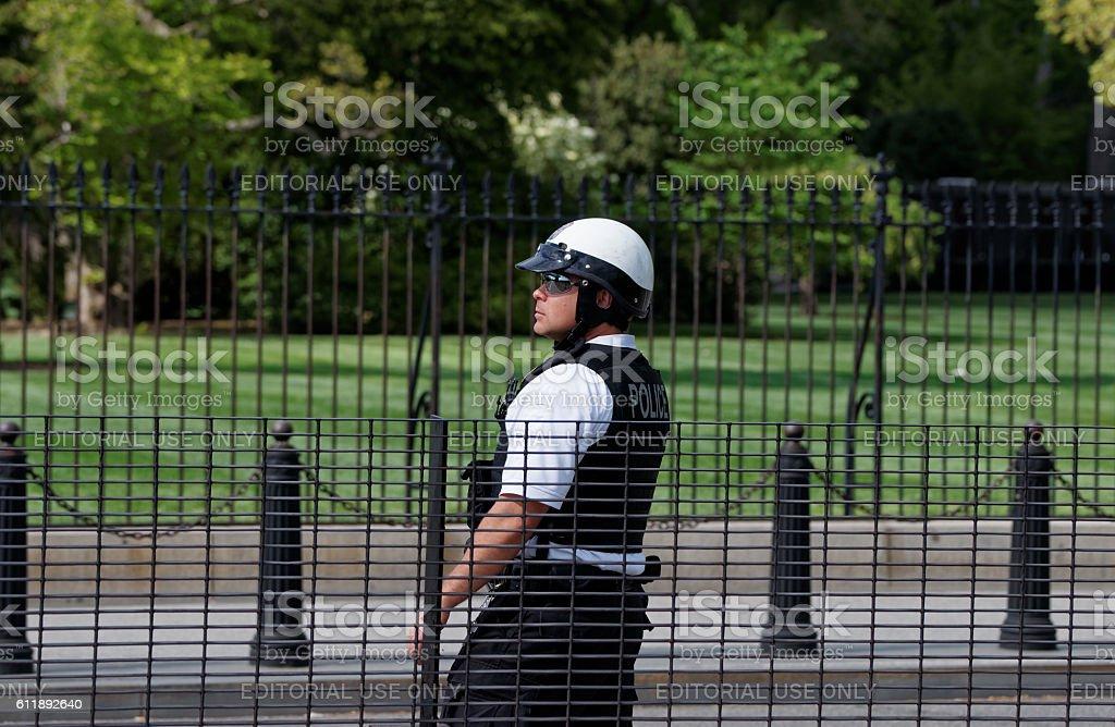 Policeman on the duty in Washington stock photo