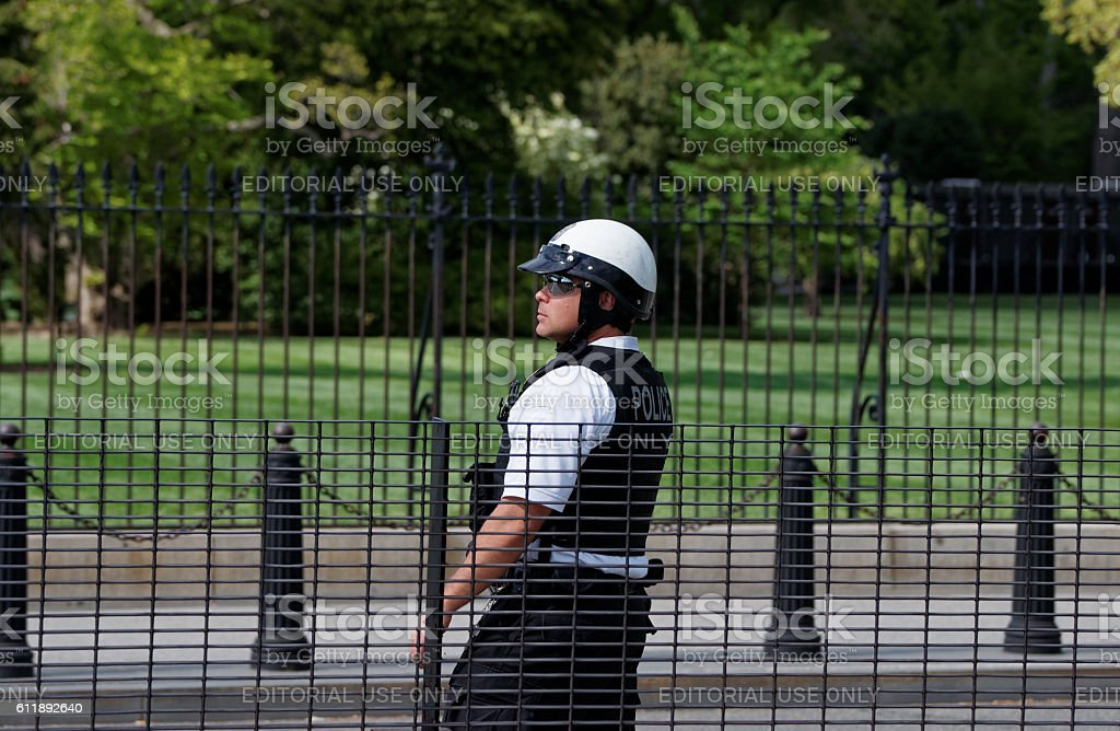 Policeman on the duty in Washington stock photo