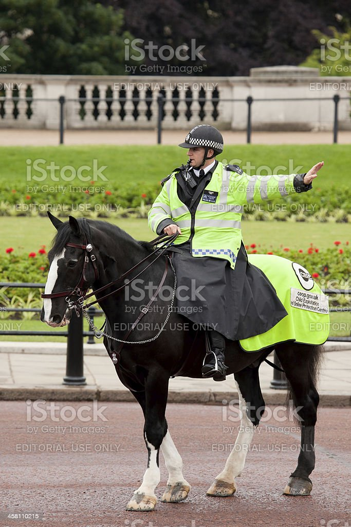 Policeman on the horse stock photo