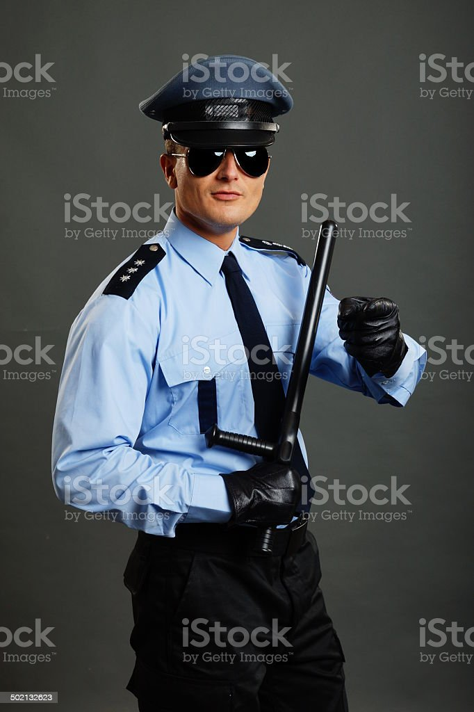 Policeman shows on you royalty-free stock photo