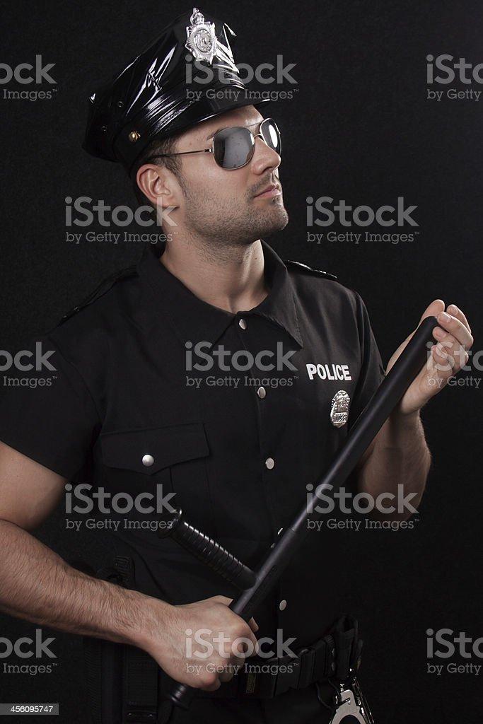 Policeman wearing sunglasses stock photo