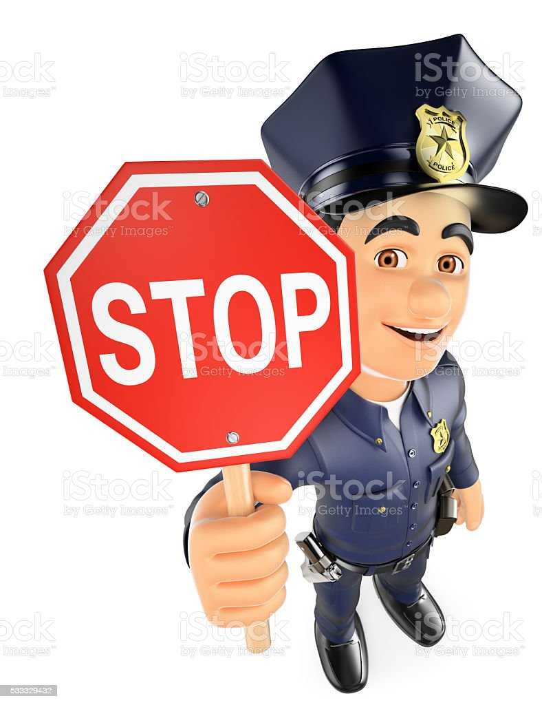 3D Policeman with a stop sign stock photo