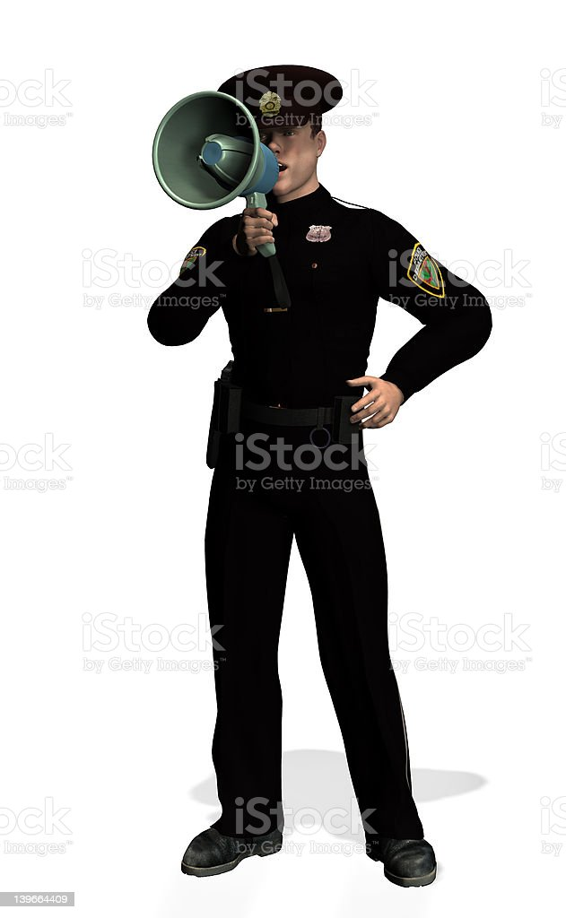 Policeman with Megaphone 2 royalty-free stock photo